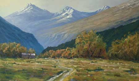 rabbit country original oil painting by new zealand artist simons kramer